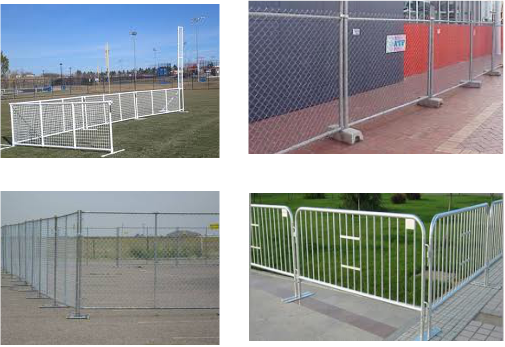 Fencing and barricades for event rentals